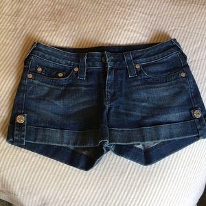 True religion dark denim jean jess cuffed short